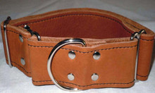 "1 & 1/2"" Tan Leather Collar.  Fits neck size 14"" to 21"" but can be made to order.  Just let us know your dog's neck size."