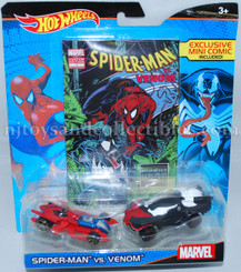 Hot Wheels Marvel Comic Hero 2-Pk: Spiderman vs Venom with Mini Comic