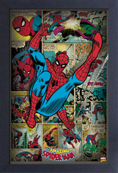 Spiderman Comic Book Panels Framed Wall Decor