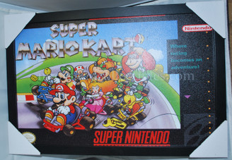Nintendo Super Mario Kart Video Game Box Framed Wall Decor Poster