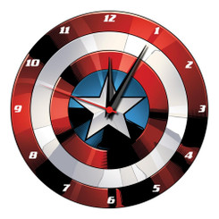 "Marvel Captain America Shield 13.5"" Cordless Wood Wall Clock"