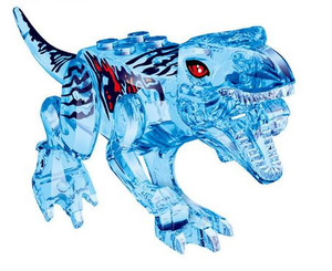 Lego Compatible 5-Inch Tyrannosaurus Rex in Clear Blue