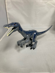 Lego Compatible 12-Inch Raptor Dinosaur, Grey/Blue