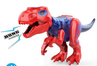 Lego Compatible 12-Inch Tyrannosaurus Rex, Red/Blue with Sounds