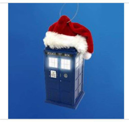 DOCTOR WHO LED TARDIS WITH SANTA HAT ORNAMENT