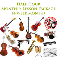 Music Monthly Lesson Package (4 week month) Half Hour