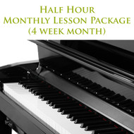 Piano Monthly Lesson Package (4 week month) Half Hour