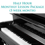 Piano Monthly Lesson Package (5 week month) Half Hour