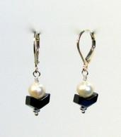 Pearl & Hematite Chevron Earrings