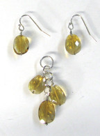 Faceted Citrine Pendant & Earring Set