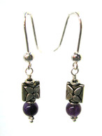 Amethyst Bali Flower Earrings