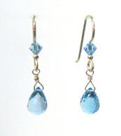 London Blue Topaz Faceted Drop Earrings