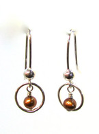 Copper Pearl Ring Earrings