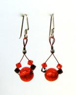 Red Murano & Swarovski Festive Earrings