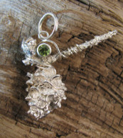 Silver Cast Pine Pendant with Peridot