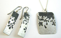 Etched Flower Pendant & Earrings