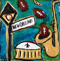 Football - New Orleans mini painting