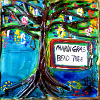 Mardi Gras Bead Tree mini painting