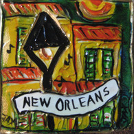 New Orleans Lampost mini painting
