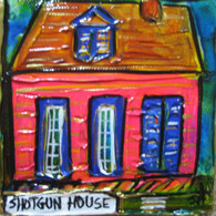 Shotgun House - pink mini painting