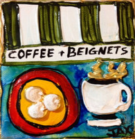 Coffee & Beignets mini painting