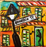 Bourbon St. Mini Painting - New Orleans Art
