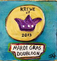 Mardi Gras Doubloon Mini Painting