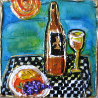 Fleur de lis with bottle & grapes Mini Painting