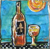 Fleur de lis with bottle & glass mini Painting