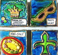 Mardi Gras - Collection of 4 mini paintings