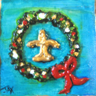 Fleur de lis Wreath Mini Painting