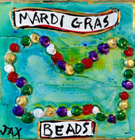 Mardi Gras Beads mini painting