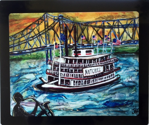 The Sax Man and the Natchez Floating Metal Print