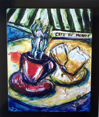 Coffee & Beignets Floating Metal Print