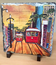 Two Red Streetcars on Canal St. Slate Trivet