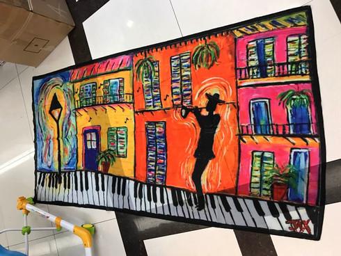 Piano sidewalk Scarf New Orleans Art Jax Frey