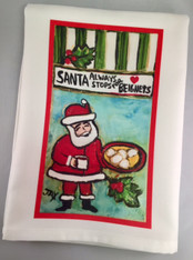Tea Towel - Santa Always stops for Beignets!