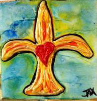 Fleur de Lis with Heart Mini Painting