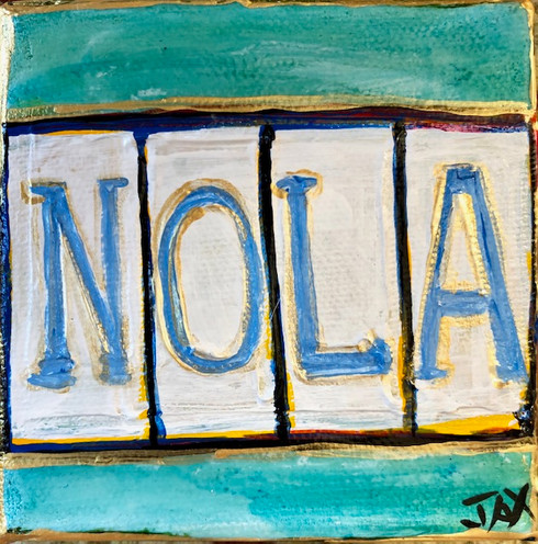 Nola Sign Mini Painting - New Orleans Art