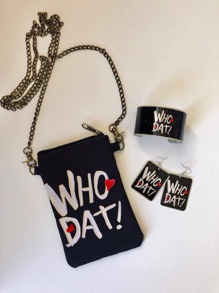 Who Dat Purse, cuff bracelet and earrings
