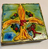 Christmas Fleur de Lis Mini Painting