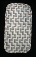 """11' X 21"""" Tan with dark tan and silver blue geometric forms on a table runner for the center of a table,  Medium wieght fabric with a medium weight interlining and blue floral backing."""