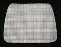 "15"" X 11 1/2"" Grey and white plaid placemat.  Shaped wider at the bottom to fit on a round table.  Medium weight fabric with tan light weight fabric backing.  Washable in cold water."