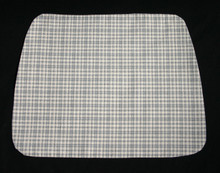 """15"""" X 11 1/2"""" Grey and white plaid placemat.  Shaped wider at the bottom to fit on a round table.  Medium weight fabric with tan light weight fabric backing.  Washable in cold water."""