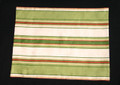 "12 1/2"" X 16 1/2"" in shades of green, tan and red stripe brocade place mat.  Medium weight fabric with a tan light weight fabric backing."