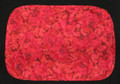 "19"" X 13"" Red rose placemat with self  fabric bias edging.  Light weight cotton fabric with red cotton backing. Washable."
