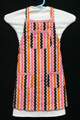 "Pink, gold, brown & white wavy stripe child's apron with adjustable strap allowing easy adjustment for fitting a child sized 4-6.  The apron grows with the child!  The apron has pink binding across the top and on top of each of the three pockets.  The apron without straps is 18"" long.  The waist is adjustable from 14"" to 24""."