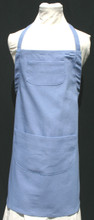 """Blue child's apron with adjustable strap, allowing easy adjustment for fitting a child sized 6-10.  The apron grows with the child!  The apron has one pocket. Made of woven medium weight cotton for easy cleaning  The apron without straps is 23"""" long.  The waist is adjustable from 24"""" to 32""""."""