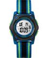 Timex TW7C26000 Youth Digital Blue/Green/Black Striped Nylon Strap Watch G818-TW7C26000