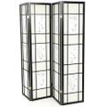 Black 4-Panel Room Divider Shoji Screen with Asian Floral Print Q280-WFPRD9531